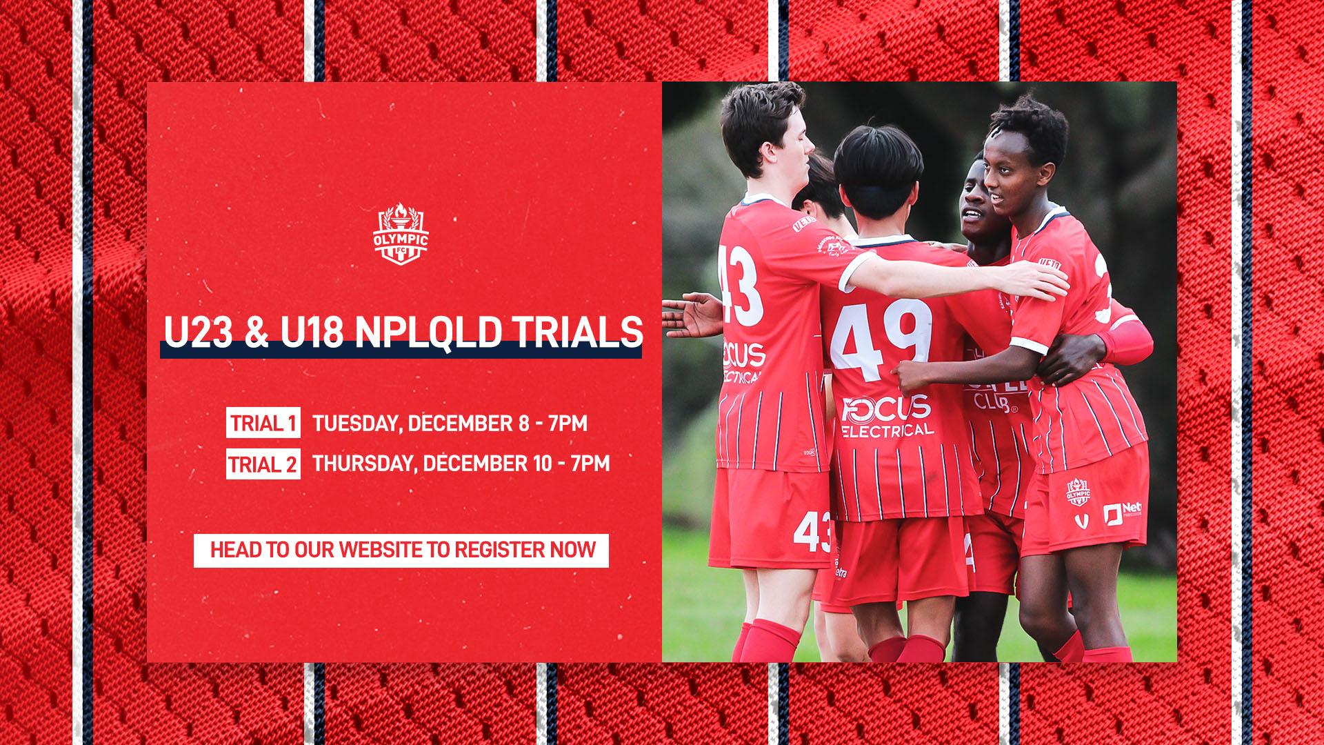 Olympic FC 2021 U23 & U18 NPL Queensland trials